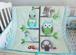 Wholesale Happy Owls and Friends Cute baby Crib bedding set pieces Cot set Embroidered Quilt Bumper Sheet Dust Ruffle for boy bed kit