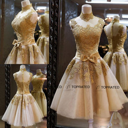 Wholesale 2015 New Prom Dresses Cocktail Pageant Graduation Gown With High Neck Sheer Back Gold Lace Appliqued Organza Short Bow Sash Real Image