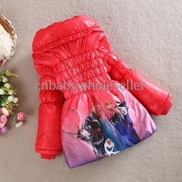 Wholesale New Fashin Children Frozen Clothes Blue Thin Plus Long And Cotton Girls Hooded Coat For Kids Clothing OC40726
