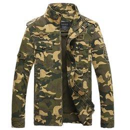 Wholesale Otoño Nueva Moda Hombres Tictical Chaqueta algodón tamaño M XXXL del estilo militar del ejército del camuflaje de la chaqueta de la chaqueta de bombardero de vuelo Q1673