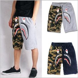 Wholesale Camouflage Shark Head Shorts Fashion Men Hip Hop Street Sports Shorts Cotton Patchwork Painted Pockets Drawstring Shorts