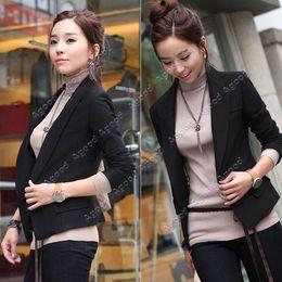 Wholesale New Women s Lapel One Button Suit coat top Black Long Sleeve Slim Fit SV004657