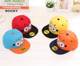Wholesale 4 color Despicable Me Minions Kids Snap back Hat Caps Children s Boys Cartoon Baseball Cap Casual Hiphop Hats new Despicable Me Hat Cap