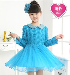 Wholesale Hot sale Autumn New Fashion Korean Children Clothing Beautiful Girls Lace Dress Princess Mini Dresses Kid Baby Clothes