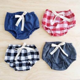 Wholesale Baby Underwear Rabbion Bowknot Plaid Children Cute PP Shorts T