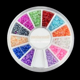 Wholesale Hot New MM Half Pearl Rhinestones Nail Art UV Gel Acrylic System Tips Decoration b014