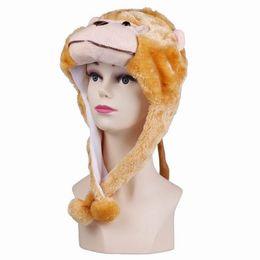 Wholesale 10pcs Lovely Cartoon Cute Animal Fluffy Plush Soft Warm Cap Hat Earmuff Scarf Cap DJD5