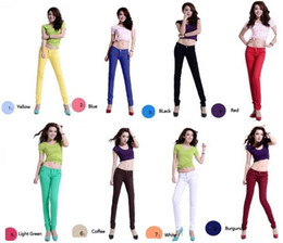 Wholesale 2015 Fashion Women Candy Colors Styles Classical Pencil Pants Spring Summer Autumn Style Sexy Fit Jeans Woman Casual Pants