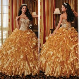 Wholesale Nobe Debutante Dresses Sweetheart Neckline Sparkly Beads Sequins Corset Ruffles Skirt Gold Organza Quinceanera Dresses
