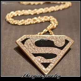 brand superman logo pendants necklaces with full rhinestone s letter necklace pendant gold chain