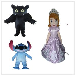 Wholesale custom made sofia the first stitch toothless mascot costume cartoon character costumes for adult to wear