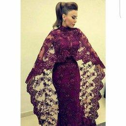 Wholesale Abaya In Dubai Purple Lace Evening Dresses Mermaid Muslim Arabic Celebrity Party Gowns New yousef aljasmi Kaftan Dress