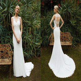 Wholesale Beautiful Enzoani Lace Wedding Dresses V Neck Sheath Sleeveless Bridal Gowns Floor Length Custom Made Wedding Dress