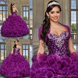 Wholesale Custom Made Purple Quinceanera Dresses With jacket Organza Ruffles Beading Ball Gowns Sexy Cheap Dress Sweet Dress Debutante Gown