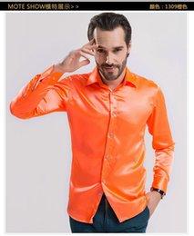 Wholesale 2015 Men s Shirts High grade Emulation Silk Long Sleeve Shirts Men s Fashion Shirt Shiny Satin Colors for men