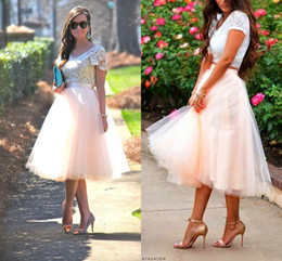 Wholesale Tea Length Tutu Skirt Party Dresses for Women Tiered Short Bridesmaid Dresses Ruffle Plus Size for Cheap Custom Made