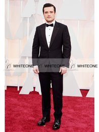 Wholesale 2015 Oscar Josh Hutcherson Celebrity Wedding Suit For Man Notch Lapel Best Man Groom Tuxedos Suits Jacket Pants Tie Vest Best Men Suits