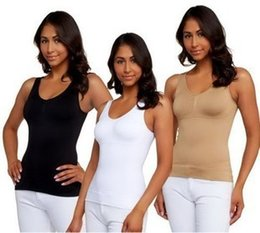 Wholesale Cami Shaper By Genie In Garment With Removable Pads Look Thinner Instantly the Ultimate Contour TOP Camishaper With Opp Package DHL Free