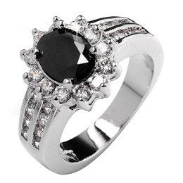 Wholesale Polish black sapphire lady s KT white Gold Filled Ring sz5