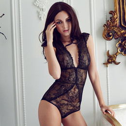 Wholesale European brand sexy full lace transparent ultrathin jumpsuits plus size women bodysuit girls deep v comether womens clothing