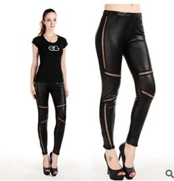 Wholesale Leather leggings for women girls black sexy large leggings stretch middle waist leggings burning fat breathable nightclub leggings FREE