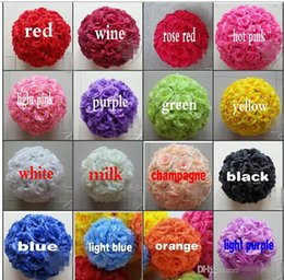 Wholesale 18 OFF quot CM Artificial Rose Silk Flower Kissing Balls White Flowers Ball For Christmas Ornaments Wedding Party Decoration Color New A