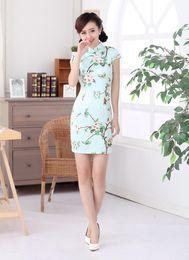 Wholesale Cheap Hot Selling Print Chinese Dresses Beautiful Stand Collar Short Length Women Cheongsams Slim Custom Made Women Dresses