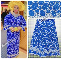 Wholesale Royal blue Silver African Handcut Organza Lace Swiss Voile Lace fabric Nigeria wedding clothing with stones metallic lurex yards