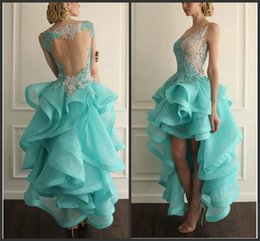 Wholesale 2016 Vestido High Low Backless Prom Dresses Lace Applique Organza Tiered V neck Party Gowns Cheap Short Homecoming Dress