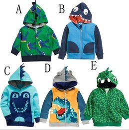Wholesale Baby Boys Hoodie Jaclet Lovely Crocodile Print Fleece Children Clothing Kids Warm Wind Coat Kid Outdoor Jacket Outwear Clothes KB042