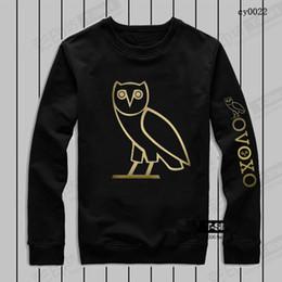 Wholesale 100 Cotton Men s Sportwear Coat Jogger Tracksuit Pullover Fleece Sweatshirt Crewneck Bird OVO Drake Black Hip Hop Hoodie Men