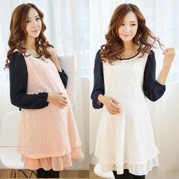 Wholesale Plus Size M L XL Spring Lace Pregnant Women Maternity Dress Skirt Clothes for Pregnancy Maternity Dresses Elegant Chiffon Skirt
