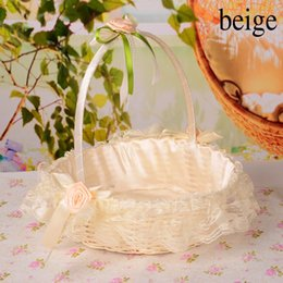 Wholesale Latest Perfect Looking Wedding Flower Basket In Stock Portable Basket Lace Petals Basket High Quality Fast Delivery