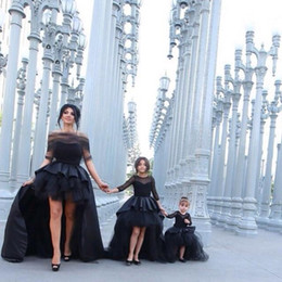 Wholesale 2015 Hot Sale Mother and Daughter Hi lo Party Dresses A Line Black Short Prom Dress Sheer Tulle neck Puffy Skirt Long Sleeves Ball Gown