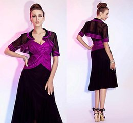 Wholesale Rose Red And Black Mother Of Bridla Dresses Two Pieces Jackets Sexy V Neck Tea Length Evening Gowns Prom Dress Mature Dress Plus Size