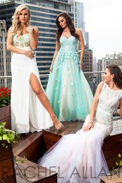 Wholesale 2015 Spring Summer RACHEL ALLAN Prom Dresses Party Evening Gowns Zipper Beads Crew Sleeveless Special Dresses WH051505