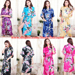 Wholesale Plus Size Womens Print Rayon Silk Robe Ladies Satin Long Sexy Pajama Lingerie Sleepwear Kimono Bath Gown Nightgown Color