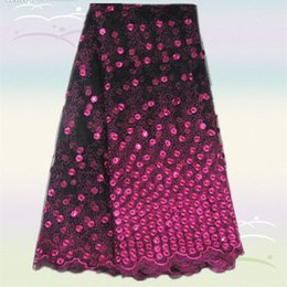 Wholesale Beautiful AN3 yds Black fuchsia French net lace fabric with nice sequins popular african organza lace fabric for dress