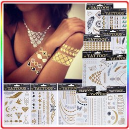 Wholesale Artilady metallic tattoo set big size gold tattoo silver temporary tattoos metallic temporary tattoos women jewelry