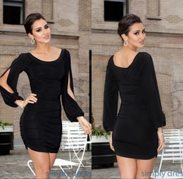 Wholesale Short Dresses Sexy Club Black Cocktail Party Dresses Sheath Scoop Ruched Custom Made Cheap Long Sleeves Cocktail Dresses