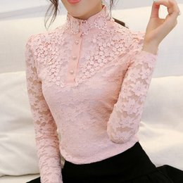 Wholesale 2015 new winter high collar shirt Slim thin lace blouses fashion style underwear women clothes SS11