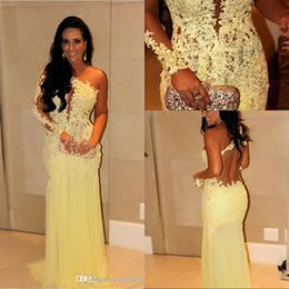 Wholesale 2015 In Stock Special Occasion Dresses Lace Yellow Appliqued Single Long Sleeves Sheer Back Sheath Tulle Skirt Celebrity Evening Prom Gowns