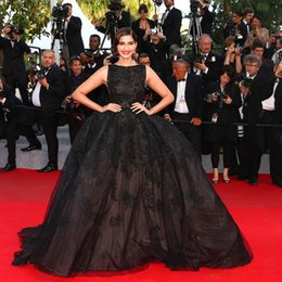 Wholesale Hot New Sonam Kapoor Celebrity Dresses Sexy Scoop Beaded Appliqued Black Long Prom Dress Elie Saab Dress Red Carpet Party Evening Gown