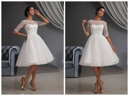 Wholesale 2015 Customized Cheap Handmade Awesome Cocktail Dresses A Line Organza Crew Half Sleeves Natural Waist Knee Length Cocktail Wedding Dresses