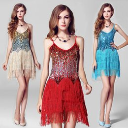 Wholesale women stage wear latin dance clothes tessels dance costumes Modern dance dress sequined dance dress