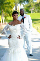 Wholesale 2015 Plus Size Wedding Dresses Sexy Mermaid Long Sleeve Backless Lace Off Shoulder Tulle Custom Made Sheer Vestidos De Novia Wedding Gowns