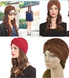 Wholesale Boutique Stretchy Turban Head Wrap Band Chemo Bandana Hijab Pleated Indian Cap warm Hat Berets colorful