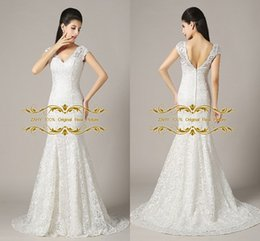 Wholesale US In Stock Mermaid Bridal Gowns Cap Sleeve Original Real Picture Zipper V Neck Lace Wedding Dresses LAN043