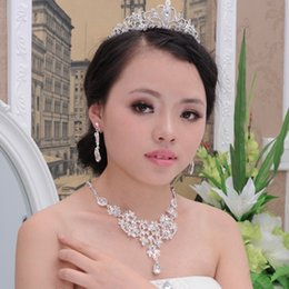 Wholesale RHINESTONE CRYSTAL NECKLACE EARRING SILVER PLATED JEWELRY SET FOR WEDDING BRIDAL JEWELLERY FOR LACE WEDDING DRESS ZM