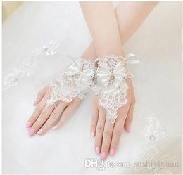Wholesale New Korean Fashion Wrist Flower Lace Diamond Bridal Gloves Wedding Gloves Dress Short Paragraph Mitts